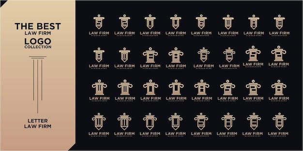 Мега набор коллекций дизайна логотипа юридической фирмы письма. логотипы адвокатского бюро с весами правосудия