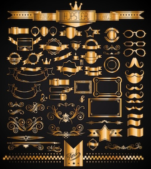 Mega set of vintage golden labels for your hipster