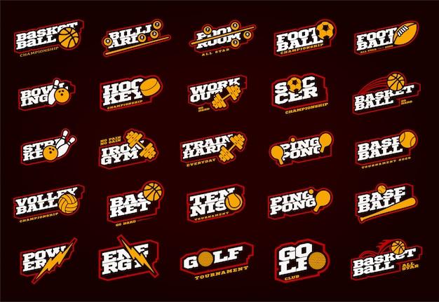 Mega sport logotype set. modern professional sport typography in retro style.