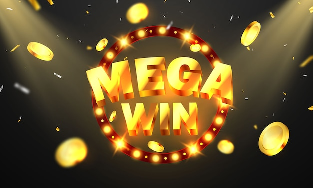 Mega win casino luxury vip invitation with confetti celebration party gambling