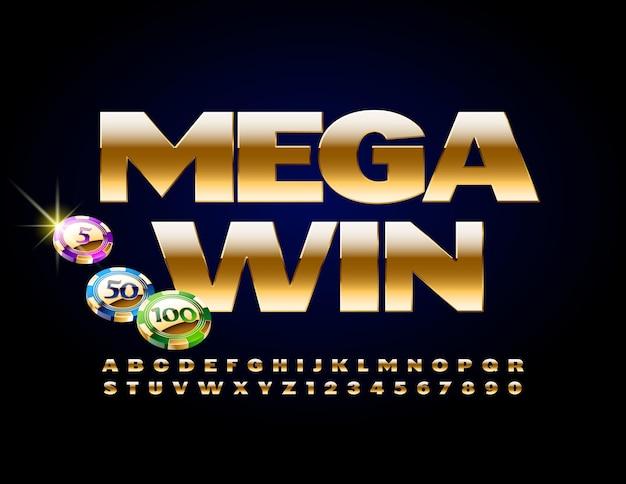 도박 칩으로 메가 승리. 세련된 금속 글꼴. 골드 알파벳 문자와 숫자