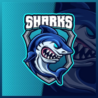 Шаблон дизайна логотипа талисмана киберспорта megalodon shark beast, логотип shark beast