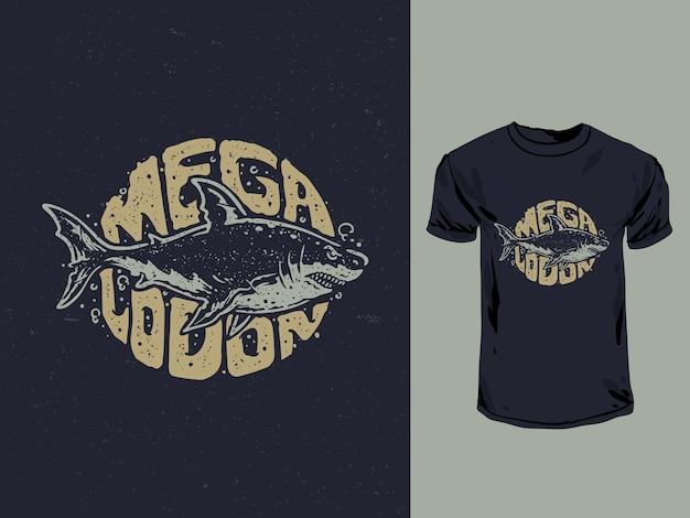 빈티지 스타일의 tshirt 일러스트와 함께 megalodon 상어 인쇄술