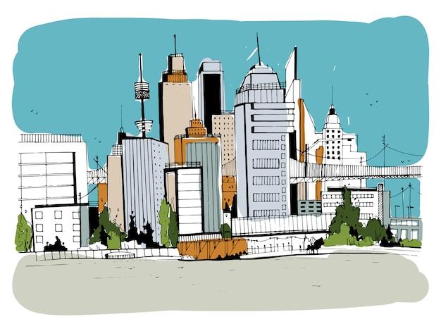 メガロポリス市、ストリートイラスト。手描きの建物、都市の景観、アウトラインスタイルのオフィスとカラフルなスケッチ風景。レトロなはがき