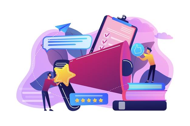 Мегафон и бизнесмены оценивают со звездами и значками большого пальца вверх. ранговая и рейтинговая шкала, высокий рейтинг, концепция высшего рейтинга