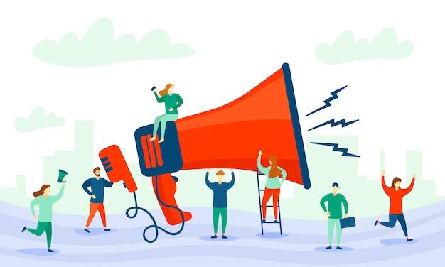 확성기와 캐릭터 사람들. 큰 확성기와 광고의 평면 문자. 마케팅 개념. 사업 홍보, 광고, 경적을 통한 전화, 온라인 경고. 삽화.