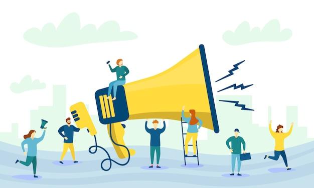 확성기와 캐릭터 사람들. 큰 확성기와 광고의 평면 문자. 마케팅 개념. 사업 홍보, 광고, 경적을 통한 전화, 온라인 경고. .