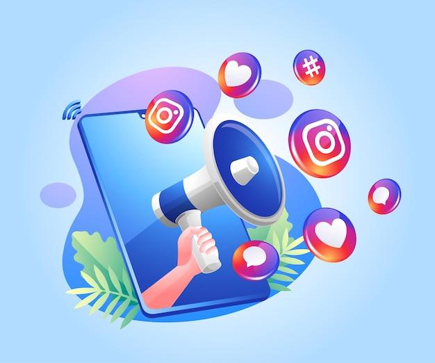 확성기와 instagram 소셜 미디어 아이콘