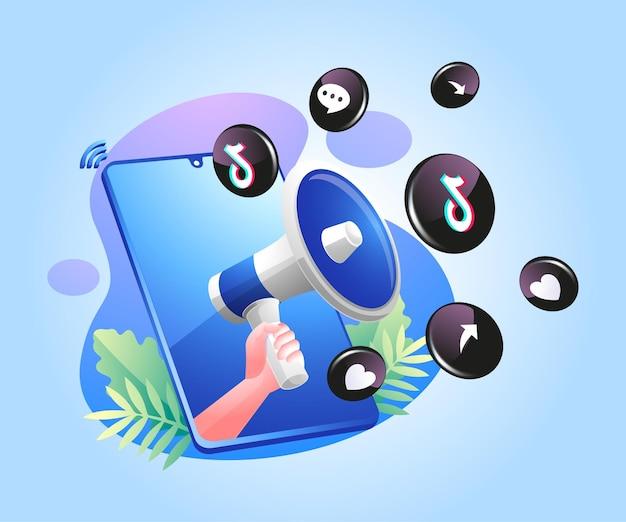 확성기와 tiktok 소셜 미디어 아이콘