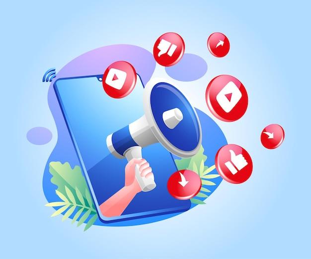 확성기와 youtube 소셜 미디어 아이콘