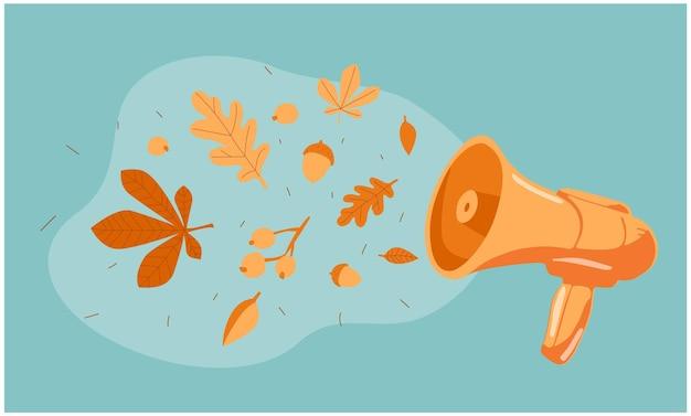 Megaphone announces autumn speaker with leaves and fall autumn vibes autumn concept idea