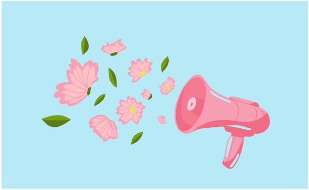 Megaphone announces spring speaker with flowers spring vibes sommer or spring concept idea