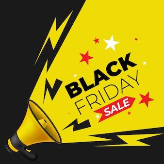 Megaphone announcing black friday deals