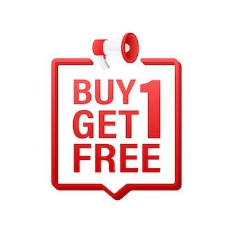 확성기 배너, 텍스트가 포함된 비즈니스 개념 1개 구매 1개 무료입니다. 판매 태그입니다. 벡터 재고 일러스트 레이 션.