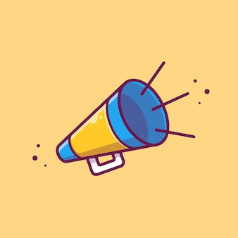 Megaphone bullhorn   icon illustration. movie cinema icon concept isolated   . flat cartoon style