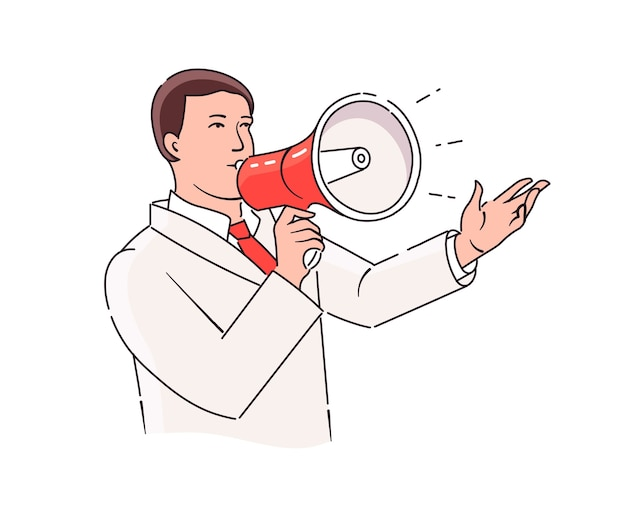 Megaphone. bullhorn. a man speaks into a loudspeaker. outline illustration style