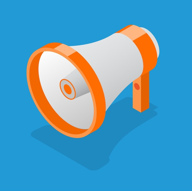 Megaphone for business, promotion and advertising. isometric view. loudspeaker