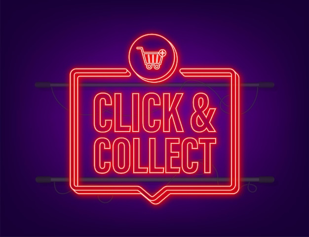 Megaphone click and collect neon banner. flat style. website vector icon. vector stock illustration.