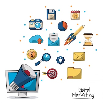 Megaphone coming out of lcd monitor in closeup and marketing icons