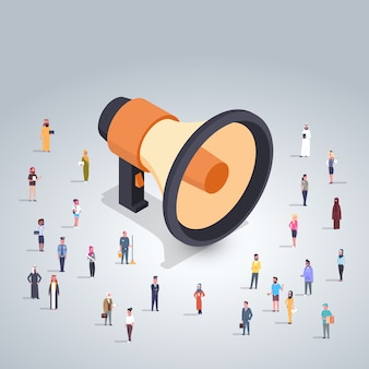 Megaphone concept with business people