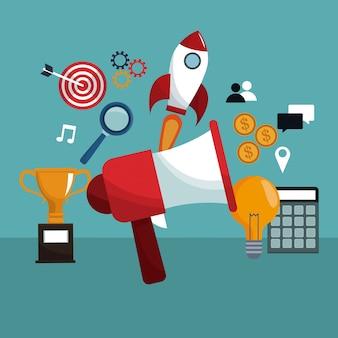 Megaphone digital marketing creativity icons