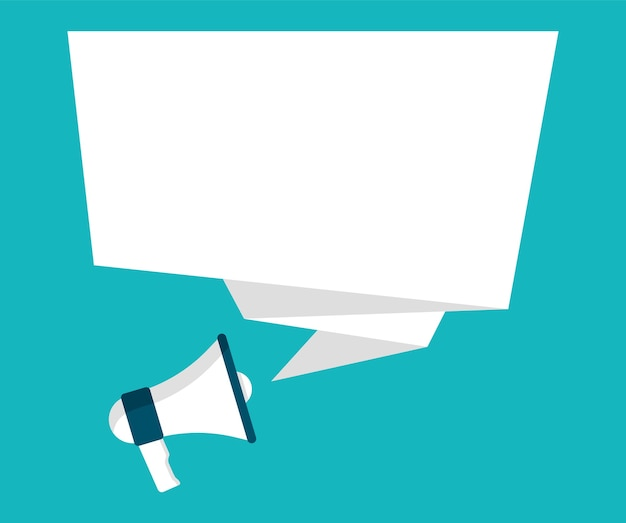 Megaphone and empty speech bubble for your advertising and promotion.