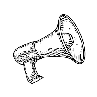 Megaphone illustration in engraving style isolated on white background. design element for poster, card, banner, flyer. vector illustration