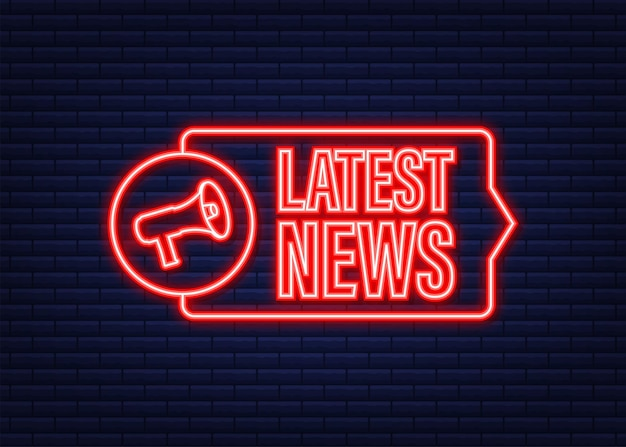 Megaphone label with latest news. neon icon. megaphone banner. web design. vector stock illustration.