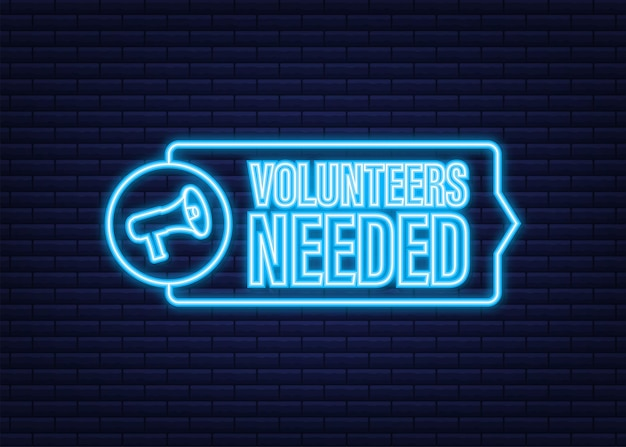 Megaphone label with volunteers needed. megaphone banner. neon icon. web design. vector stock illustration.
