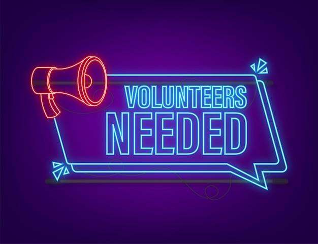 Megaphone label with volunteers needed megaphone banner neon icon web design