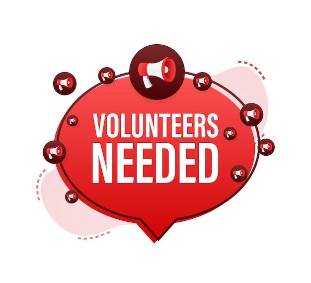 Megaphone label with volunteers needed. megaphone banner. web design. vector stock illustration.