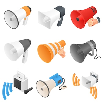 Megaphone loud speaker icons set