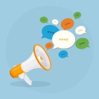 배경에 확성기. 흰색 연설 거품과 물러나. 소셜 미디어, 디지털 마케팅 개념.