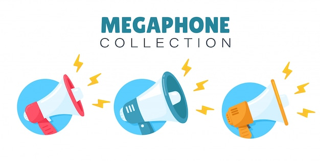 Megaphone set for shouting product promotion announcements to customers. Premium Vector