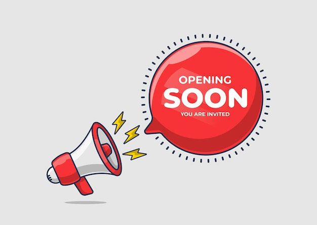 Megaphone shouting loudly announcement open soon you are invited