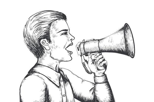 メガホンのスケッチ。手描きのスピーカーの彫刻、拡声器の発表のコンセプト。