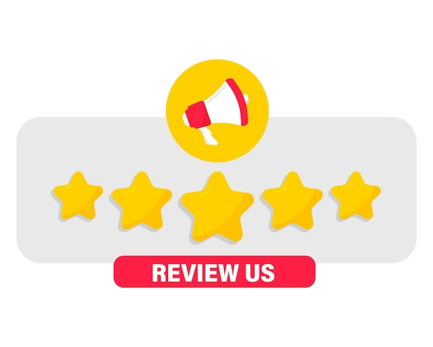 Megaphone and speech bubble with five gold star rating customer review feedback concept
