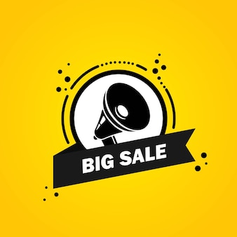 Megaphone with big sale speech bubble banner. loudspeaker. label for business, marketing and advertising. vector on isolated background. eps 10.