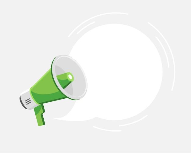 Megaphone with empty speech bubble in flat design