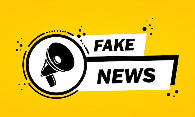 Мегафон с баннером пузыря речи фальшивых новостей. громкоговоритель. этикетка для бизнеса, маркетинга и рекламы. вектор на изолированном фоне. eps 10.
