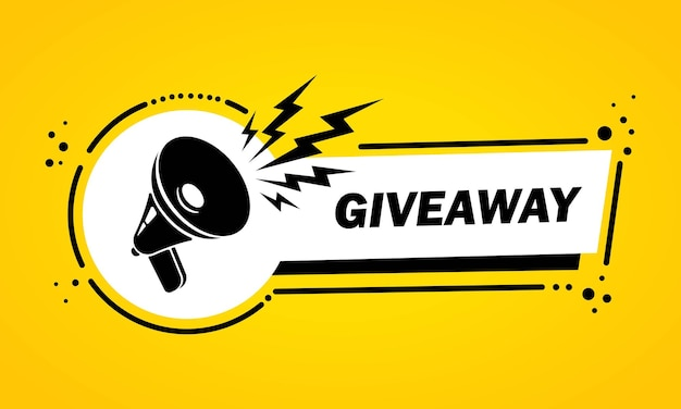 Megaphone with giveaway speech bubble banner. loudspeaker. label for business, marketing and advertising. vector on isolated background. eps 10.