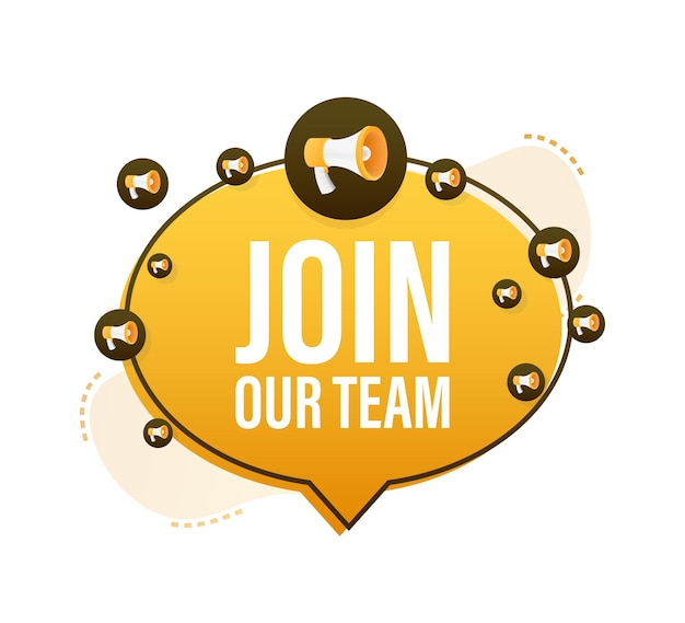 Megaphone with join our team. join our team megaphone. web design. vector stock illustration.