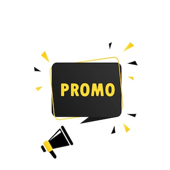 프로 모션 연설 거품 배너와 확성기입니다. 확성기. 비즈니스, 마케팅 및 광고에 사용할 수 있습니다. 벡터 eps 10입니다. 흰색 배경에 고립.