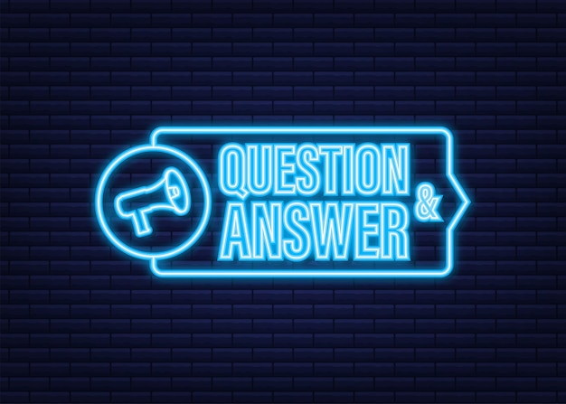Megaphone with question and answer. neon icon. megaphone banner. web design. vector stock illustration.