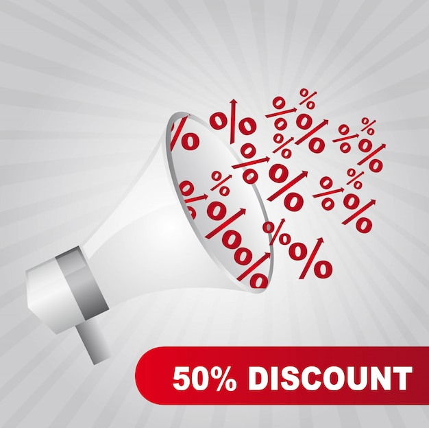 Megaphone with red percent over gray background vector