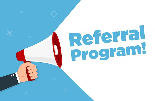Megaphone with referral program. vector illustration