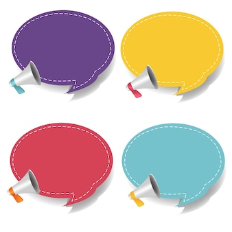 Megaphone with speech bubble isolated white background set with gradient mesh