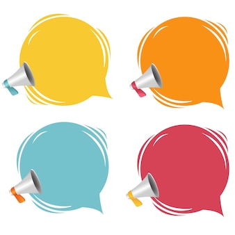 Megaphone with speech bubble isolated white background with gradient mesh