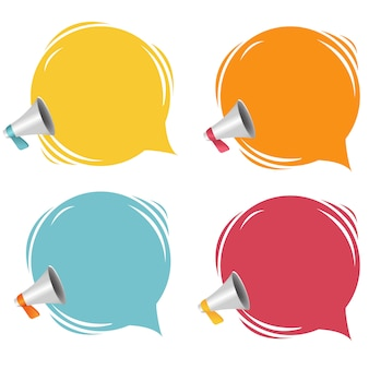 Megaphone with speech bubble isolated white background