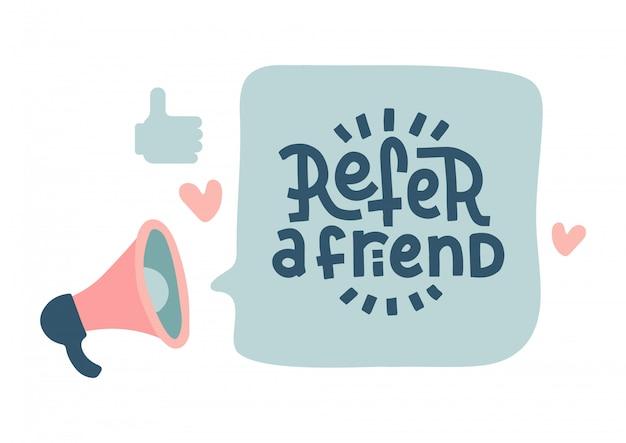 Мегафон с речевым пузырем посмотреть друзья надписи цитатой. объявление в социальных сетях. плоская рука рисованные иллюстрации с сердечками